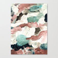 abstract painting VI - green & dusty pink Canvas Print