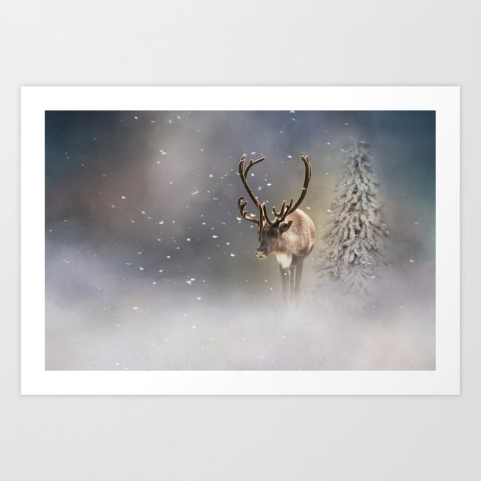Santa Claus Reindeer In The Snow Art Print By Simonegatterwe