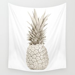 Minimalist White Gold Painted Pineapple Wall Tapestry