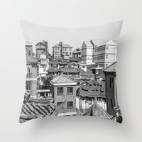 seoul Throw Pillows featuring Seoul Rooftops by Jennifer Stinson