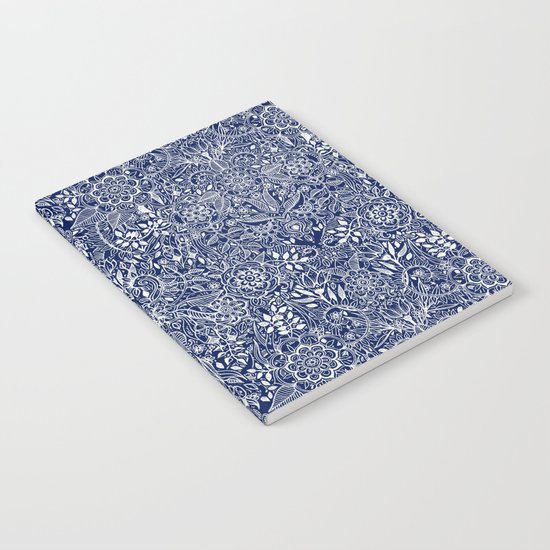 Detailed Floral Pattern in White on Navy Notebook