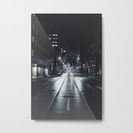 Night street reflect Metal Print