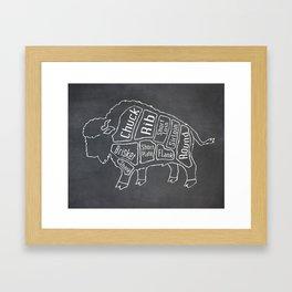 Buffalo Butcher Diagram (Meat Chart) Framed Art Print