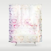 glasses Shower Curtains featuring Glasses by C Designz
