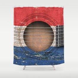 Old Vintage Acoustic Guitar with Dutch Flag Shower Curtain