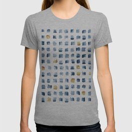 Watercolor Indigo Gold Geometrical Squares Pattern T-shirt