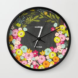 Z botanical monogram. Letter initial with colorful flowers on a chalkboard background Wall Clock
