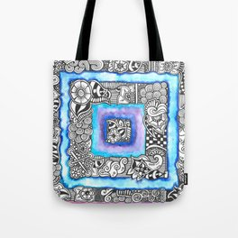 Purple Blue Zendoodle Square Tote Bag