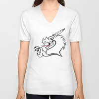 dragon V-neck T-shirts featuring Dragon by MassDistraction