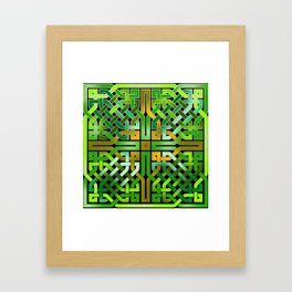 Green Celtic  Knot Square Framed Art Print