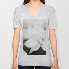 Snow White Flowers on a Dark Background #decor #society6 #buyart Unisex V-Neck