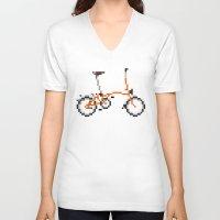 brompton V-neck T-shirts featuring Pixel Art Brompton bicycle - Orange by PixelArtM