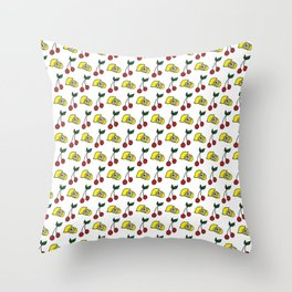 Country Cherries and Lemons Pattern Throw Pillow