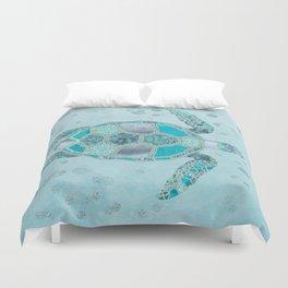 Glamour Aqua Turquoise Turtle Underwater Scenery Duvet Cover
