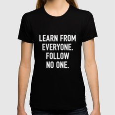 Learn from Everyone Black Womens Fitted Tee LARGE