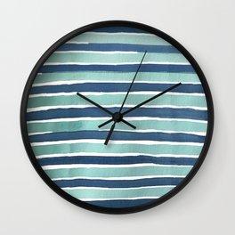 Aqua Teal Stripe Wall Clock