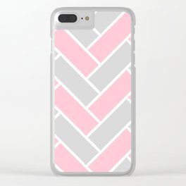 Chevron Pattern Pink and Grey #pink Clear iPhone Case