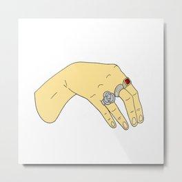 Harry Styles' Hand-- Simple Metal Print