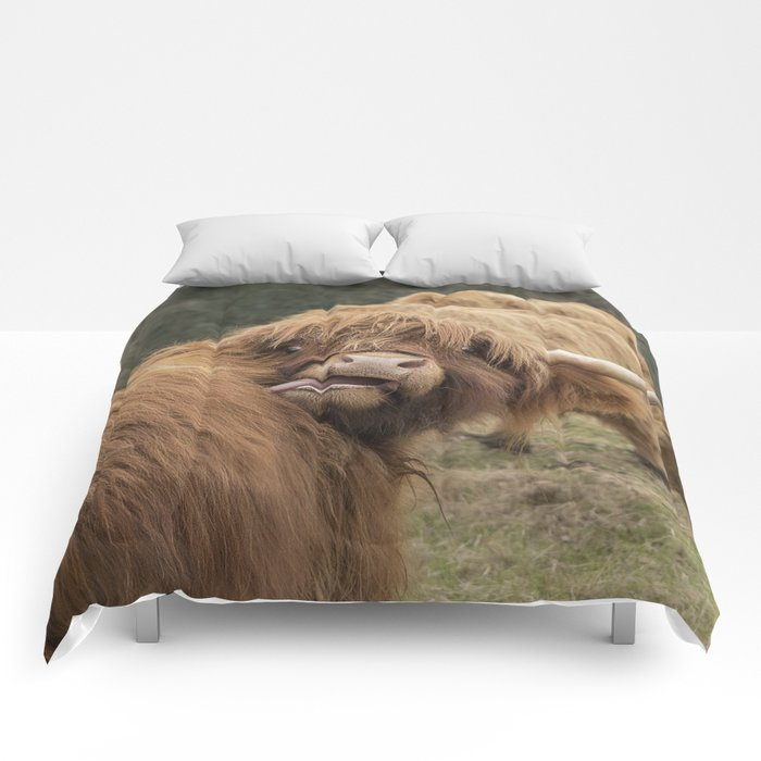 Funny Scottish Highland cow Comforters