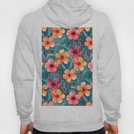 Colorful Watercolor Hibiscus on Dark Charcoal Hoody