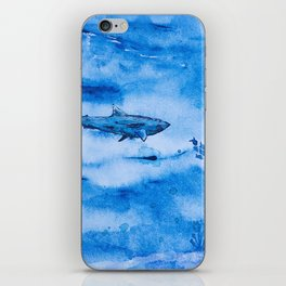 Great white in blue iPhone Skin