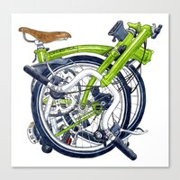 brompton Canvas Prints featuring Brompton Folded green painting by Diana Powell