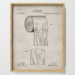 Toilet Paper Patent - Bathroom Art - Antique Serving Tray