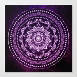 Purple Glowing Soul Mandala Canvas Print
