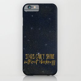 Stars- Darkness - sparkling gold glitter effect night typography iPhone Case