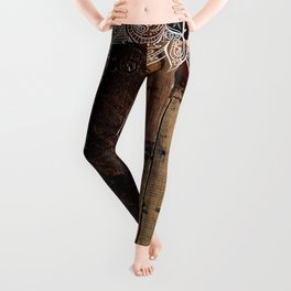 rustic country farmhouse chic vintage lace barnwood Leggings