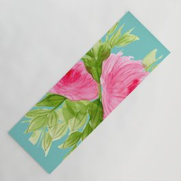Pink Peonies in Watercolor Yoga Mat
