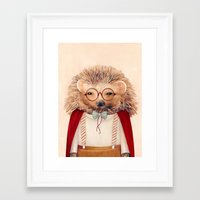 hedgehog Framed Art Prints featuring Hedgehog by Animal Crew