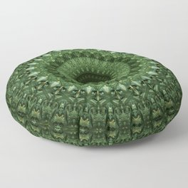 Mandala in olive green tones Floor Pillow