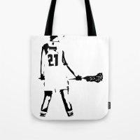 lacrosse Tote Bags featuring Lacrosse girl by laxwear