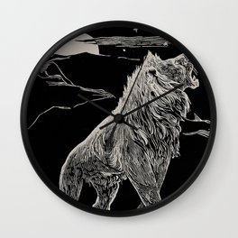 The animal story book Andrew Lang - 1904 Black & White Ink Lion Magical Mystical Animal Art Wall Clock