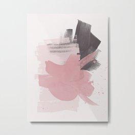 Blush Pink Black Grey, Watercolor Brush Strokes, Abstract Art 111-1 Boho decorative art Metal Print