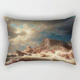 Marcus Larson - Stormy Sea With Ship Wreck Rectangular Pillow