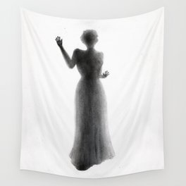 Untitled - charcoal drawing - female figure, spooky, atmospheric, ghostly Wall Tapestry