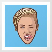 miley cyrus Art Prints featuring Miley Cyrus by Michael Walchalk