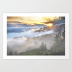 Sunrise and Dust - Mountains - Forest - Wood - Trees - Fog Art Print