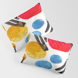 Mid Century Modern Abstract Juvenile childrens Fun Art Primary Colors Watercolor Minimalist Pop Art Pillow Sham
