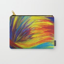 RAINBOW EXPLOSION - Vibrant Smile Happy Colorful Red Bright Blue Sunshine Yellow Abstract Painting  Carry-All Pouch