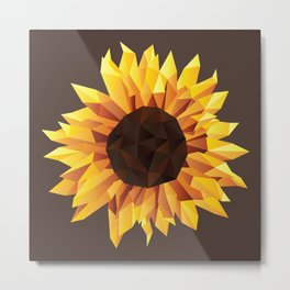 Polygonal Sunflower Metal Print