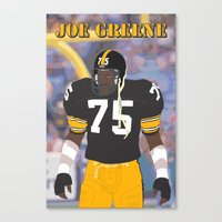 steelers Canvas Prints featuring Steelers - Joe Greene - 1978 (Vector Art) by Troy Arthur Graphics