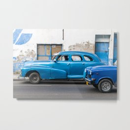 Vintage Blue Cars Metal Print