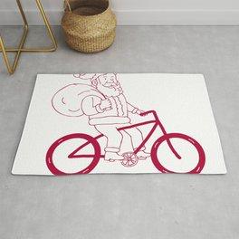 Santa Claus Riding Bicycle Side Cartoon Rug