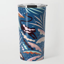 Exotic Wilderness on Blue / Panthers and Plants Travel Mug