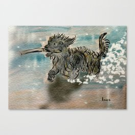 My dog fetching a stick Canvas Print