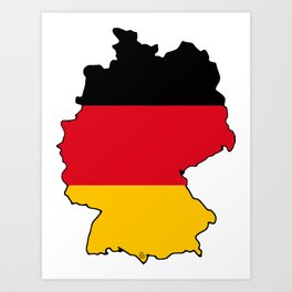 Germany Map with German Flag Art Print