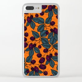Blackberry hand- drawn pattern Clear iPhone Case